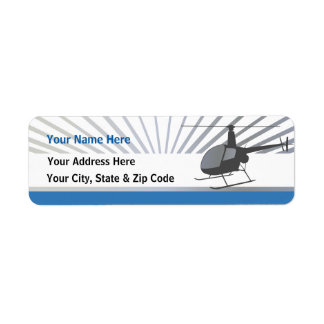 Helicopter Aircraft Return Address Label
