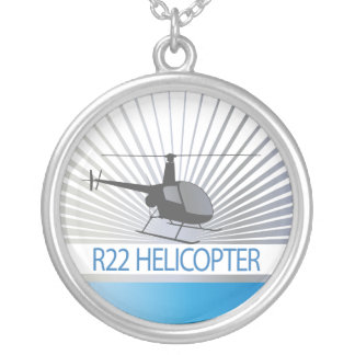 Helicopter Aircraft Silver Plated Necklace