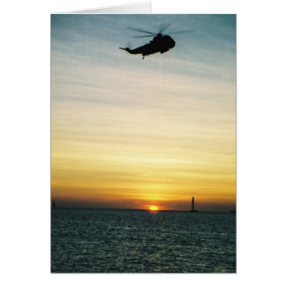 Helicopter at Sunset Card