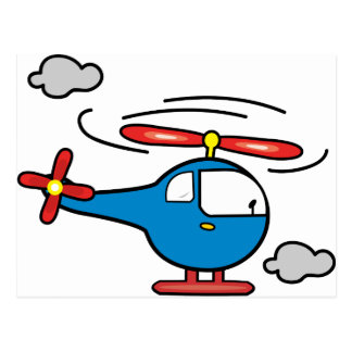 Helicopter Blue an Red Postcards