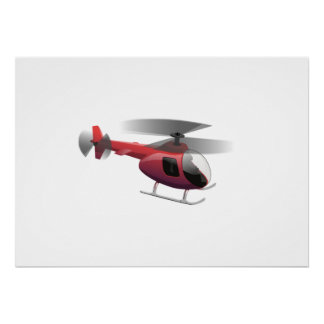Helicopter Cartoon Poster