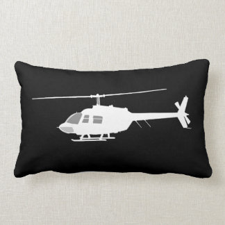 Helicopter Chopper Silhouette Flying Black Lumbar Cushion