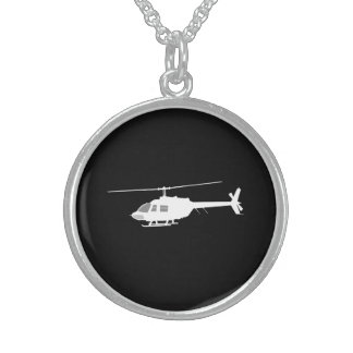Helicopter Chopper Silhouette Flying Black Sterling Silver Necklace