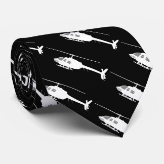 Helicopter Chopper Silhouette Flying Tie