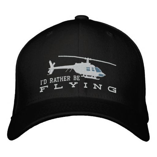 Helicopter Chopper Silhouette Rather Be Flying Embroidered Hat