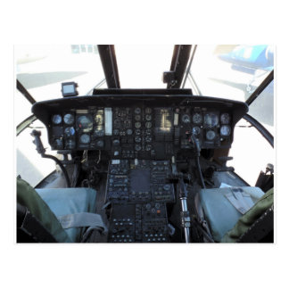 Helicopter cockpit postcard