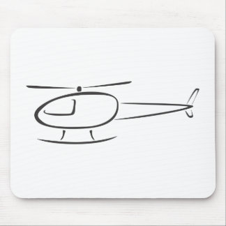 Helicopter in Swish Drawing Style Mouse Mat