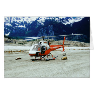 Helicopter Landed on Top of Glacier Mountain Greeting Card