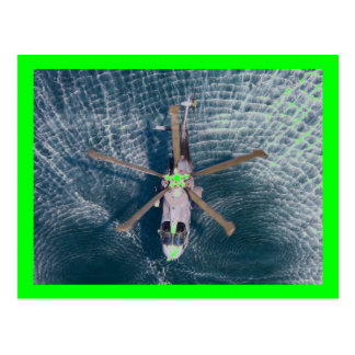helicopter over water postcard