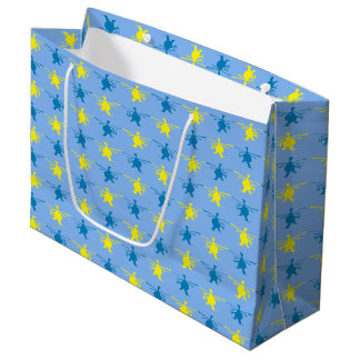 Helicopter Pattern Yellow Blue Print Large Gift Bag