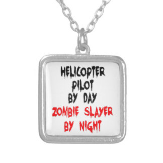 Helicopter Pilot Zombie Slayer Silver Plated Necklace
