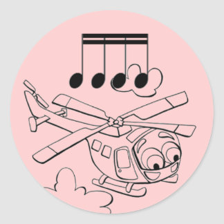 Helicopter pink classic round sticker