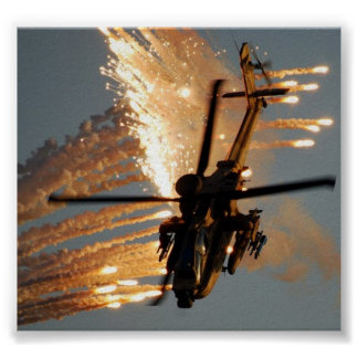 HELICOPTER SHOOTING FLARES POSTER