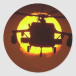 helicopter sun classic round sticker