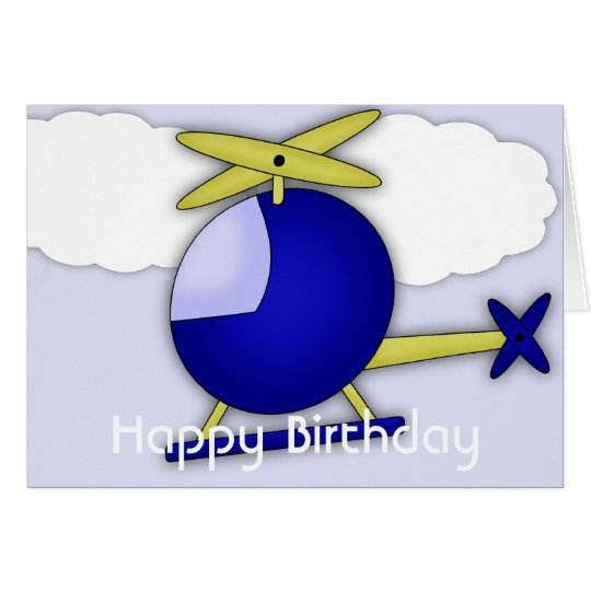 Helicopter Themed Happy Birthday Greeting Card