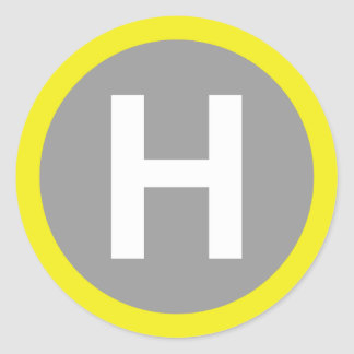 Helipad Sign Classic Round Sticker