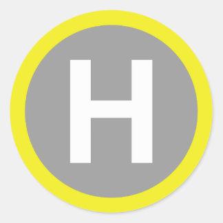 Helipad Sign Round Sticker