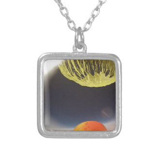 Helium balloon popping on the edge of space square pendant necklace