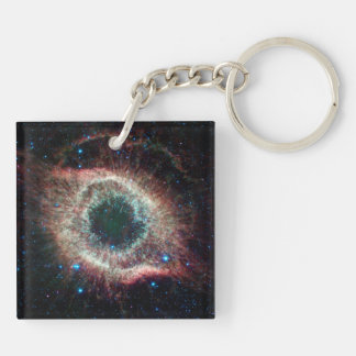 Helix in Infrared Double-Sided Square Acrylic Key Ring