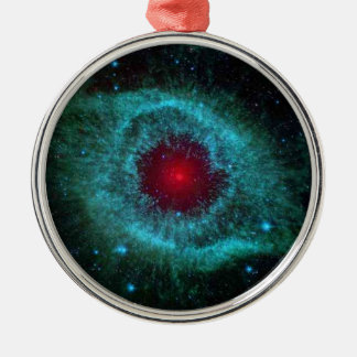 Helix nebula star cluster space photography Silver-Colored round decoration