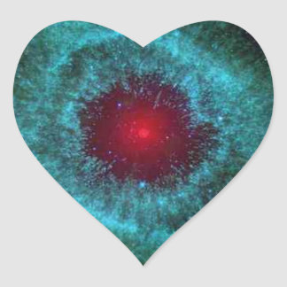 Helix nebula star cluster space photography heart sticker