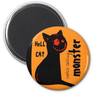 hell black cat Halloween magnet