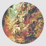 Hell Fall Of The Damned By Rubens Peter Paul Round Stickers