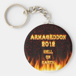 Hell on earth fire and flames. basic round button key ring
