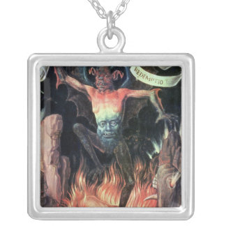 Hell, right hand panel from Triptych of Earthly Silver Plated Necklace
