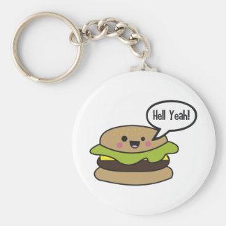 Hell Yeah Burger Basic Round Button Key Ring