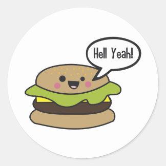 Hell Yeah Burger Round Sticker