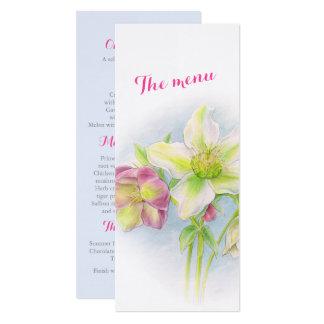 hellebore art wedding or spring event dinner menu card