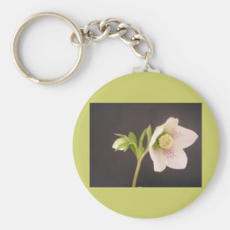 Hellebore flower basic round button key ring