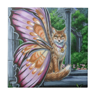 Hellebore Orange Tabby Fairy Cat Tile