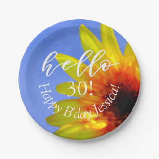 "Hello ""Age Number"" Custom Sunflower Birthday Party Paper Plate"