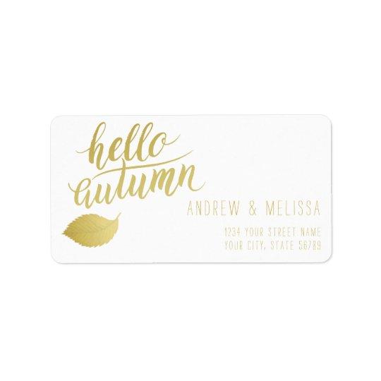 Hello Atumn | Faux Gold Brush Script Label