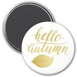 Hello Atumn | Faux Gold Brush Script Magnet
