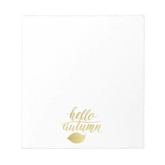 Hello Atumn | Faux Gold Brush Script Notepad
