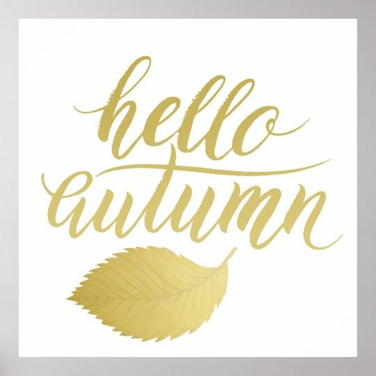 Hello Atumn | Faux Gold Brush Script Poster