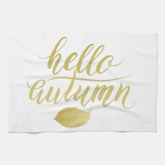 Hello Atumn | Faux Gold Brush Script Tea Towel