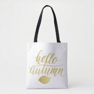 Hello Atumn | Faux Gold Brush Script Tote Bag