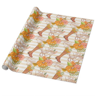 Hello Autumn Pattern Wrapping Paper