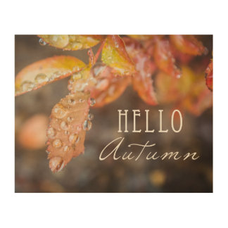 Hello Autumn Wood Block Print