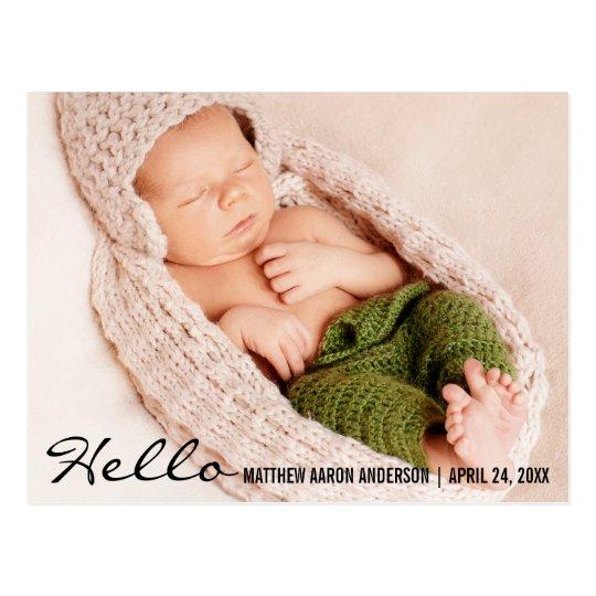 Hello Baby Birth Photo Announcement Postcard B