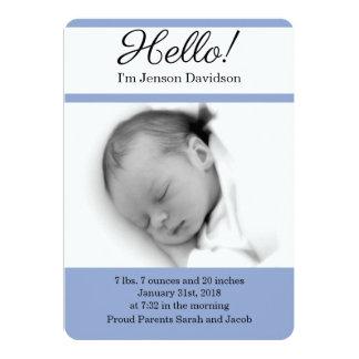HELLO Baby Boy Birth Announcements