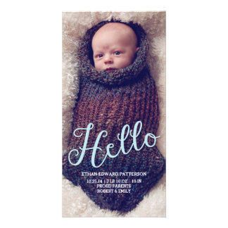 Hello Baby Boy Modern Birth Announcement Photocard Card