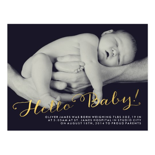 Hello Baby Gold Birth Announcement Photo Postcard