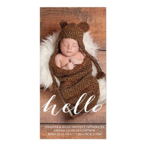 HELLO BABY MODERN BIRTH ANNOUNCEMENT PHOTOCARD PHOTO GREETING CARD