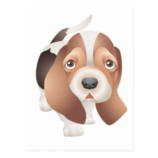 Hello Basset Hound Puppy Dog Red Love, Friendship Postcard