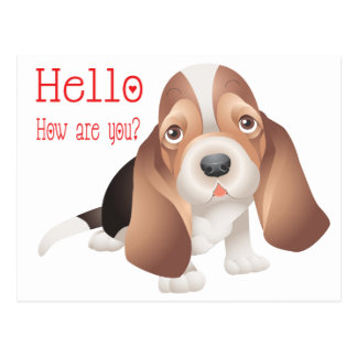 Hello Basset Hound Puppy Dog Red Thinking of You Postcard